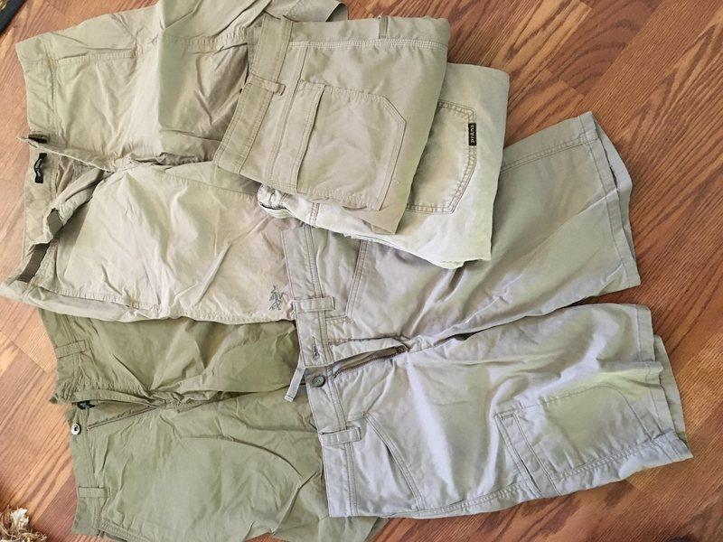 Marmot/Arcteryx/Horny Toad shorts and Prana Stretch Zions and another random Prana pant. Small hole in the stretch zions on the lower leg. $10 each