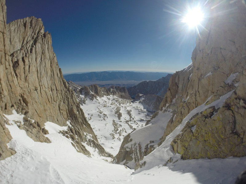 Looking down the chute I solo'd on Mt. Whitney.