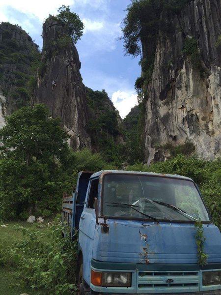 Crack climbing in Cambodia