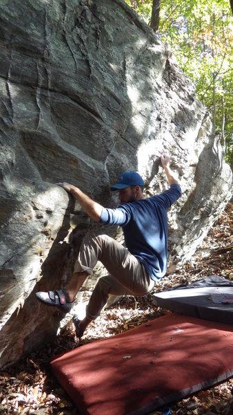 Rock Climbing Photo: Steve E moving through the bottom part
