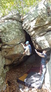 Rock Climbing Photo: Steve E rocking up into the top part of Covert Op ...