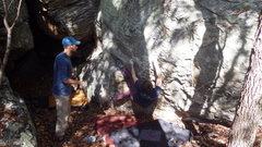Rock Climbing Photo: Jeff B working through the bottom. Steve E spottin...