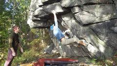 Rock Climbing Photo: Steve E sticking the throw to the sloper.