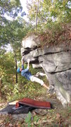 Rock Climbing Photo: Steve E after the sloper move.