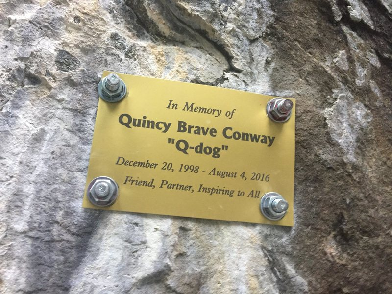 Rock Climbing Photo: Quincy's plaque located next to WTRF.