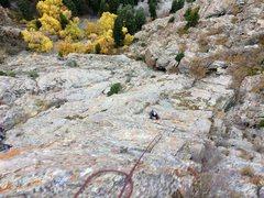Rock Climbing Photo: Looking down pitch 5