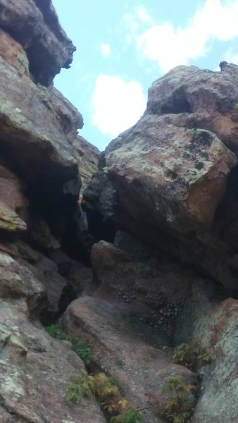 """Tunnel just before the last pitch to """"Like Heaven"""". I went through this tunnel, but the rock on the other side looked more exposed (although easy) than I felt comfortable with. Decided to come back through the tunnel and move up the ramp to the right of the tunnel entrance. Oct. 15, 2016."""