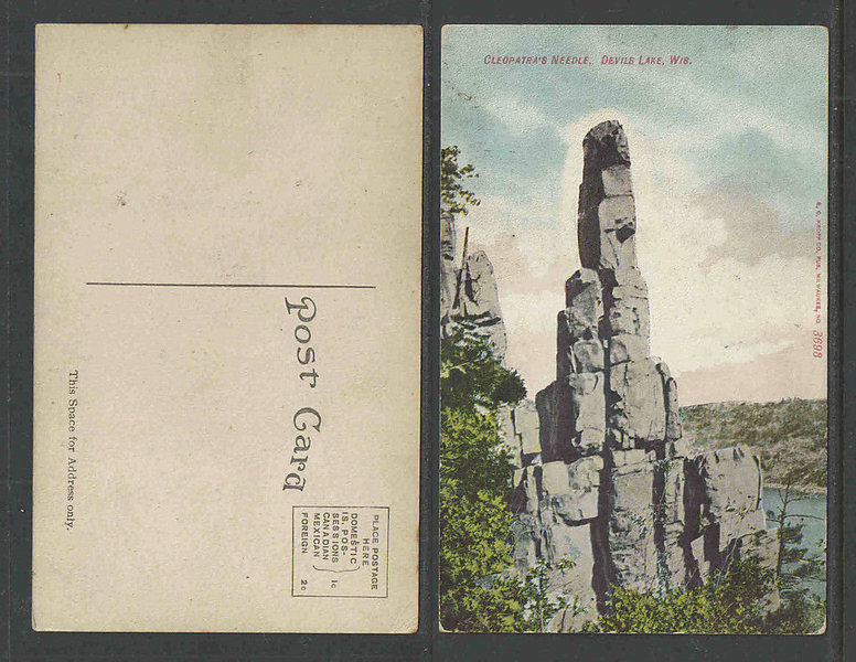 Rock Climbing Photo: 1910 postcard of Cleos needle