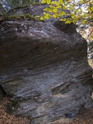 Rock Climbing Photo: The route. The crimp rail from the description is ...