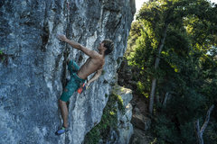 Rock Climbing Photo: Climber Wookeun Oscar Song rests on the juicy tufa...