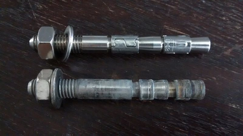 Top: Fixe Hardware 3/8&quot@SEMICOLON@ x 3.75&quot@SEMICOLON@ double wedge<br> Bottom: Raumer 10mm x 90mm double wedge