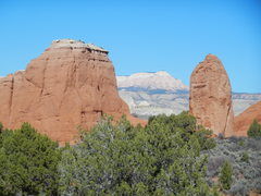 Rock Climbing Photo: Gun-Sight Butte left, Powell Point center, and Ent...