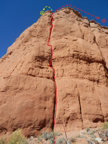 Rock Climbing Photo: Dust Bowl Dance Topo.  The initial belay to bring ...
