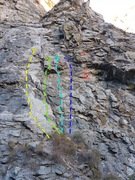 Rock Climbing Photo: Solid Gold (P1) - yellow. PTO - green. Oyster Bar ...