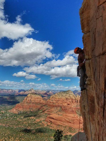 Rock Climbing Photo: Mandatory third pitch traverse shot