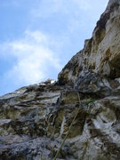 Rock Climbing Photo: Looking up P3 from hanging belay at end of P2.