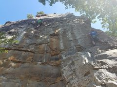 Rock Climbing Photo: Michael is climbing Orange Crush on the right and ...