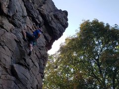 Rock Climbing Photo: Michael is fighting the pump a few bolts from the ...