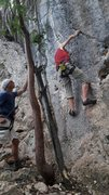 Rock Climbing Photo: Paolo belaying Gerben on Naile'