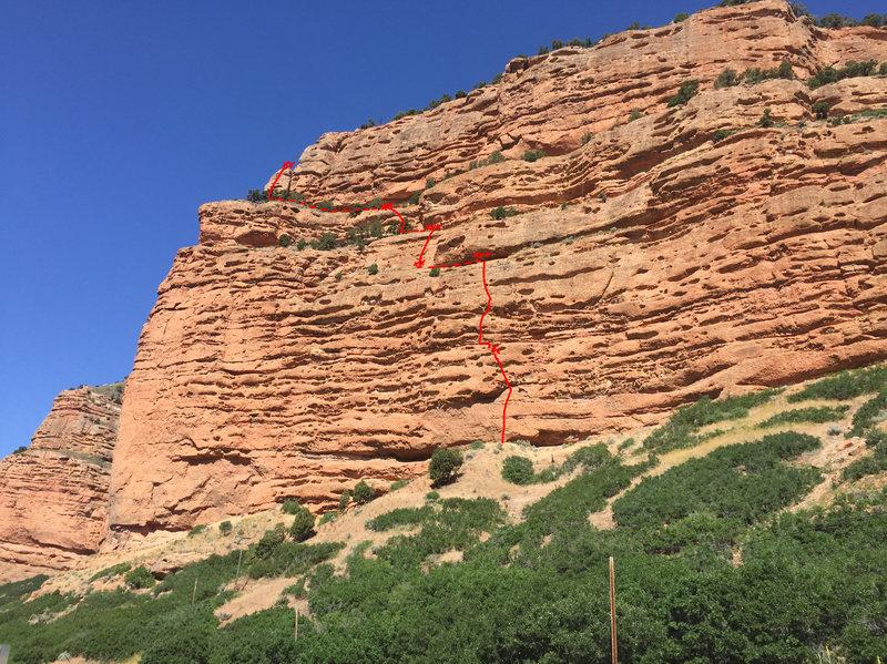 Rock Climbing Photo: Gypsy Soul, Echo Canyon route topo. Morning sun.