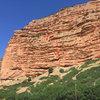 Gypsy Soul, Echo Canyon route topo. Morning sun.