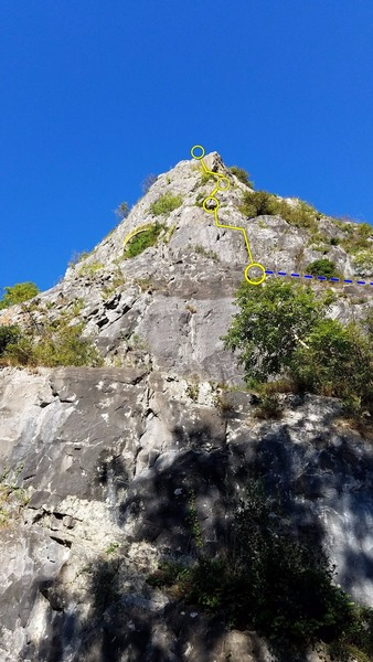 Horribly fore-shortened photo of the buttress... The approach bypasses the lower ~2/3 of rock in the photo