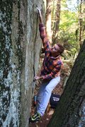 Rock Climbing Photo: tough first move on smiley face, as you can see by...