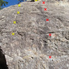 Short Stack (left, yellow) and Bakin' and Eggs (right, red), note the draws in place from our leads showing where the bolted lines go up. The routes are identified from the book Western Sloper and our Oct. 2016 visit.