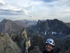 Rock Climbing Photo: Topping out on East Face of Wolf's Head