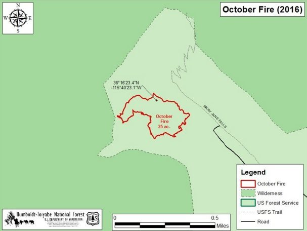 Burn area for October Fire. 10/17/16 10am.