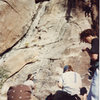 "Joe's Corner is the big dihedral on the left. This was taken at the 15th Annual Keyhole Classic when we did the bouldering competition at the Paiute Boulders. Photo courtesy of Jim ""Frodo"" Lybarger collection."