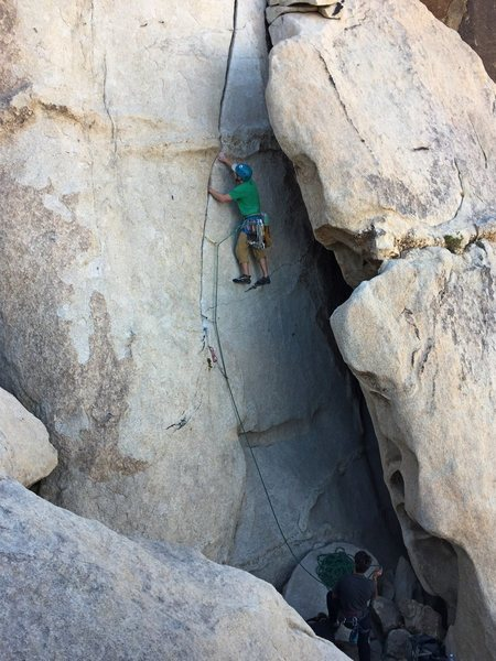 Just after the crux, leading High Strung