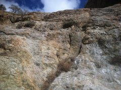 Rock Climbing Photo: Looking up at the crack. You start at the bottom l...