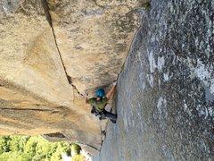 Rock Climbing Photo: The wild 2nd pitch stemming corner