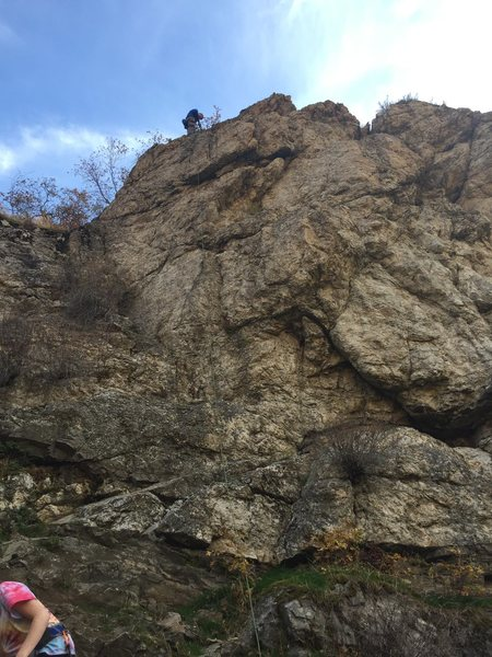 Rock Climbing Photo: Brent at the anchors; Cassidy scrambling down from...