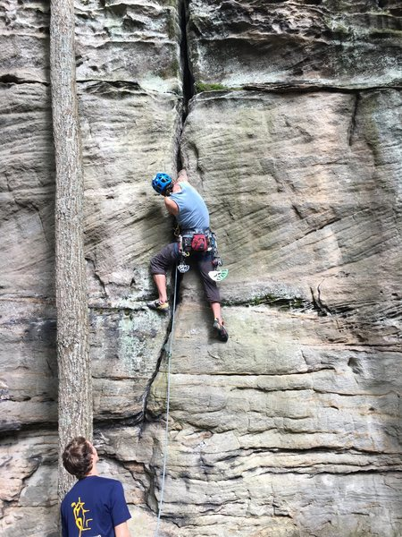 Max and I finally climbing this enjoyable crack.