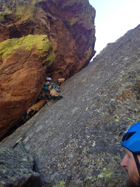 Setting off on the final pitch.  Should have belayed on big block below me.