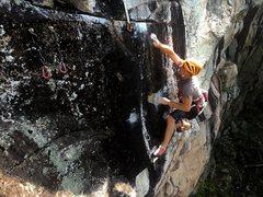 Rock Climbing Photo: Kurt choosing the wrong way to do the crux. Hey, w...