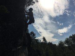 Rock Climbing Photo: Robert Omann heading for the chains.