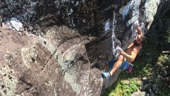 Rock Climbing Photo: Bobby mounting up for the crux of Cathedral.