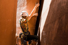 Ben Strickland starting Charlie's Pillar Direct. Getting in position to place a BD #4 for the first piece. Photo by Abbi Hearne.