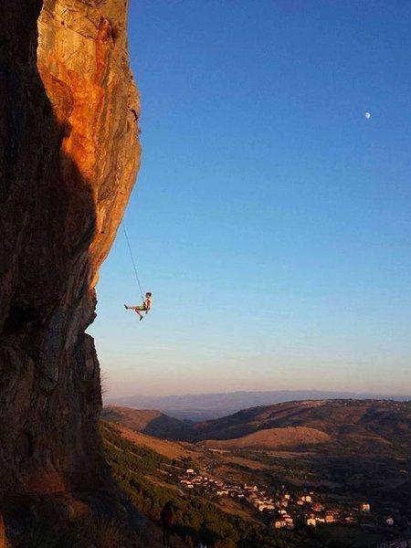 Rock Climbing Photo: moon and Jonio sea