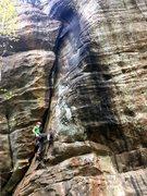 Rock Climbing Photo: Chuck starting up Hunters Arrow at Jackson Falls v...