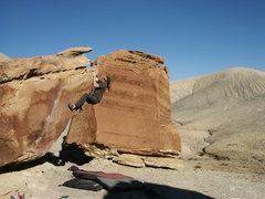 Rock Climbing Photo: Tobin holding on tight (2005 Trip)