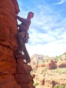 Rock Climbing Photo: Steve leading the exposed 5.6 face on P2. First tr...