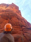 Rock Climbing Photo: Looking up at Steve pulling the crux roof at the v...