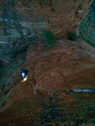 Rock Climbing Photo: Looking down at Steve following the summit pitch o...