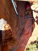 Rock Climbing Photo: Looking down from the belay at Emma inside the Cok...