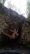 Rock Climbing Photo: Climbing out of the cave , now ready to start movi...