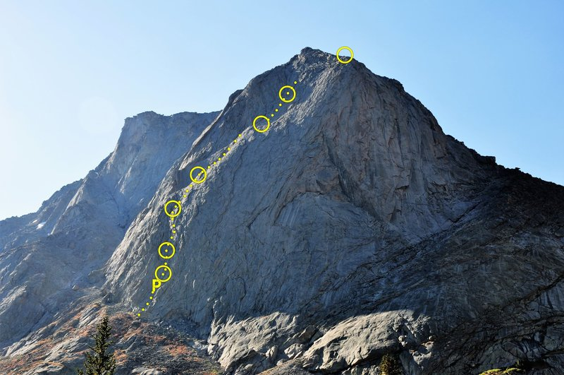 Topo for our approximate line.  Good times.. my partner said it was like putting the First Flatiron on top of the Bastille.  Pitched out the first 2.  Simul climbed the rest aside from a fun traversing 5.8 variation (pitch 5).